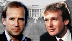 Composite image of Joe Biden and Donald Trump with the White House behind them