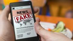 Phone with fake news image