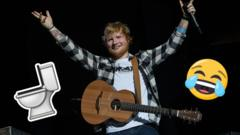 Ed Sheeran performing with toilet and crying laughing face emojis