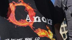 "A man in Berlin with a ""QAnon"" t-shirt"