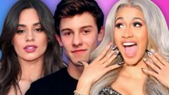From right to left: Camila Cabello, Shawn Mendes and Cardi B