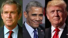 The Last three American Presidents - George W Bush Jr. - Barak Obama - Donald Trump.