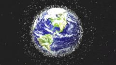 A picture of the earth surrounded by litter