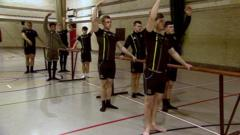 Rugby team doing ballet