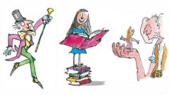 Willy Wonka, Matilda and the BFG with Sophie, copyright Quentin Blake