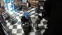 Security camera shot of barber shop