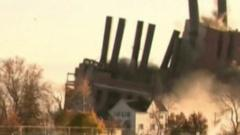 Power station brought down in controlled blast