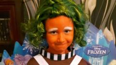 Kailan from Nottingham is dressed as an Oompa Loompa for World Book Day. He loves Roald Dahl's Charlie and the Chocolate Factory!