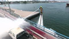 Check out these high flying firefighters using water powered jet packs to rise the challenge of tackling fires in Dubai.