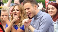 Olly and Caroline at an audition for The X Factor