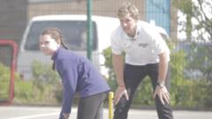 Joe Root plays cricket with schoolchildren