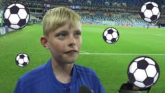 13-year-old Benjy on a football pitch with cartoon footballs