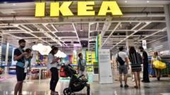 People queue outside Ikea in Bangkok