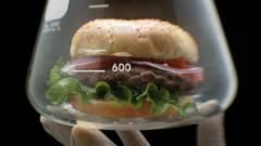 A burger in a beaker