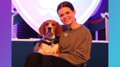 Blue Peter presenter Lindsey Russell with the show's latest dog.
