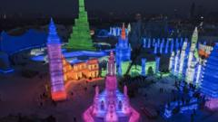 Preparations for Harbin ice and snow festival