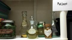 Potion bottles on a shelf