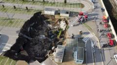The sinkhole in a hospital car park