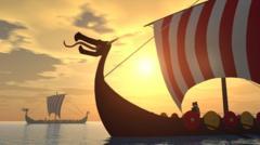 Viking Ships sailing.