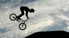 BMX rider in flight
