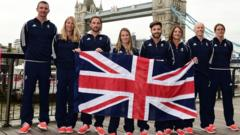 Sailors named for Team GB Rio 2016 Olympics holding British flag