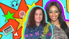 Dani Harmer and Keisha White in front of a Tracy Beaker themed background.