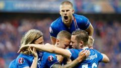 Iceland team celebrating