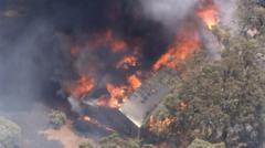 A house alight in the bushfire north of Perth