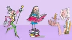 Quentin Blake illustrations of Willy Wonka, Matilda and the BFG