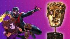 Spiderman, a fall guy, and sackboy are after a BAFTA trophy