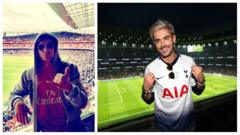Zac Efron in a arsenal and spurs shirt