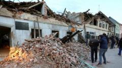 Damaged building in Petrinja, Croatia