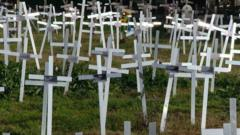 Many crosses in a cemetery