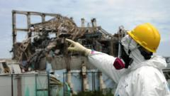 IAEA fact-finding team leader Mike Weightman examines Reactor Unit 3 at the Fukushima Daiichi Nuclear Power Plant