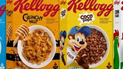 Kellogg cereal boxes with traffic light labelling