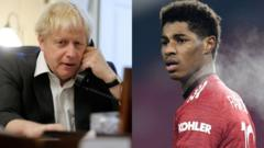 Boris Johnson and Marcus Rashford