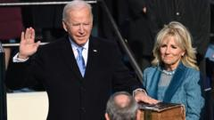 US President-elect Joe Biden is sworn in as the 46th US President during the inauguration of Joe Biden