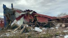 A damaged building in Beira.