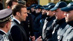 President Macron with police, 18 Feb 20