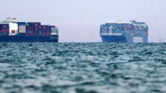 The container ship Ever Given enters Great Bitter Lake after it was refloated, unblocking the Suez Canal on 19 March 2021 in Suez, Egypt.