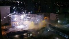 Police station hit by fireworks