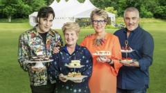 The Bake Off judges Noel Fielding, Sandi Toksvig, Prue Leith and Paul Hollywood
