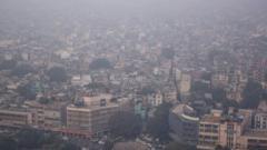 View of Delhi in the smog