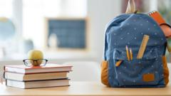 Schoolbag and books