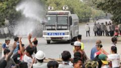 Police confront protesters in Mandalay, Myanmar