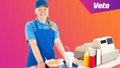 girl working at fast food counter