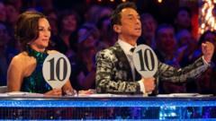 BBC handout photo of Strictly judges, Shirley Ballas, Bruno Tonioli , giving a perfect score to Ashley Roberts and Pasha Kovalev
