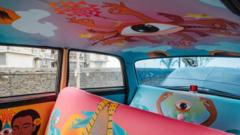Inside of a taxi