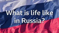 A Russian flag with the words What is life like in Russia?