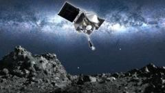 Artwork: Osiris-Rex approaching the surface of Asteroid Bennu